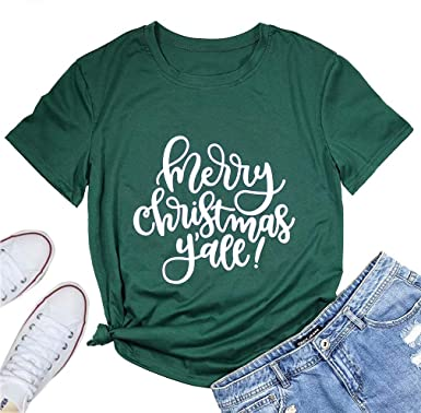d9b27698 Merry Christmas Y'all Short Sleeve Merry Christmas Tee T Shirts for Women  Letter Print Christmas Graphic Tee Shirts Tops at Amazon Women's Clothing  store: