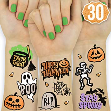 Amazon Com Xo Fetti Halloween Tattoos For Kids 30 Styles Happy