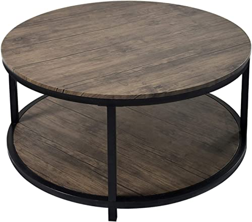 36 Round Coffee Table, Rustic Vintage Industrial Wood Top Sturdy Metal Legs for Living Room,Modern Design Home Furniture with Storage Open Shelf,Dark Walnut
