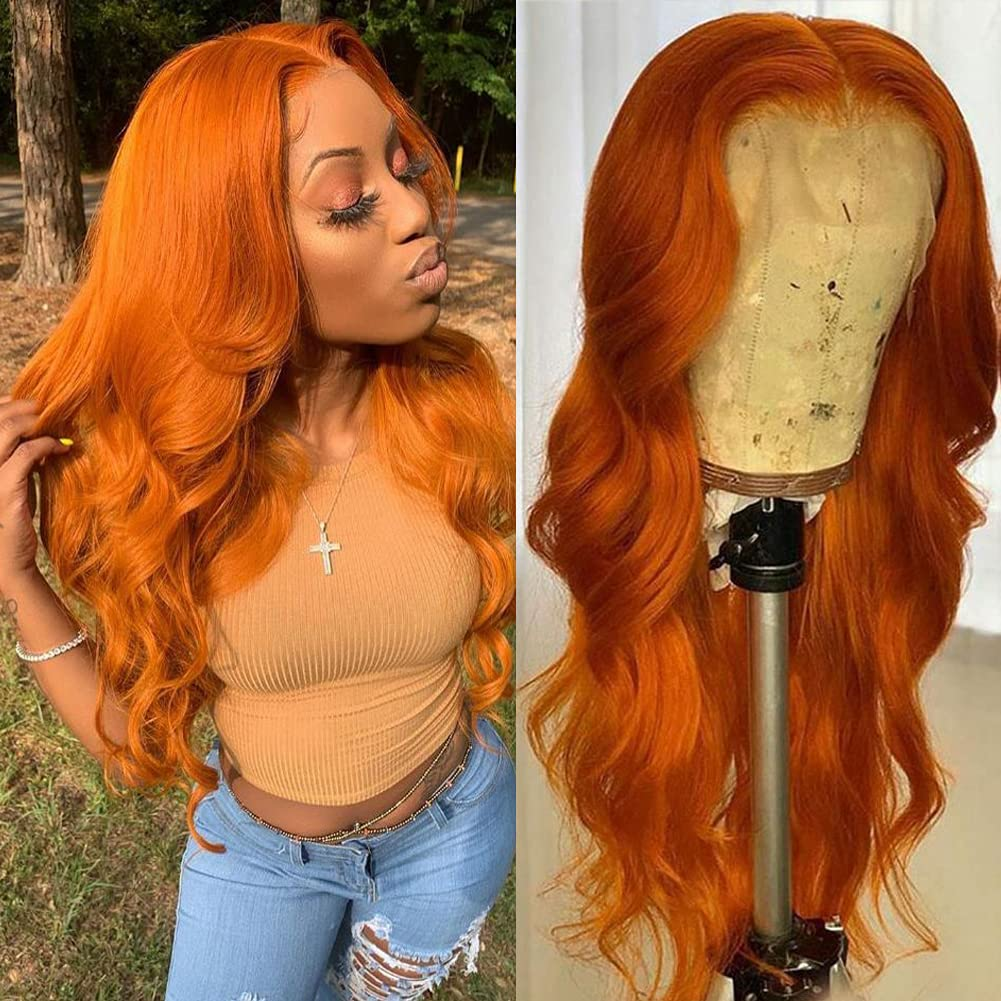sold out Orange Ginger Lace Front Wigs Human Hair Colored Super special price Wave 13X4 Body