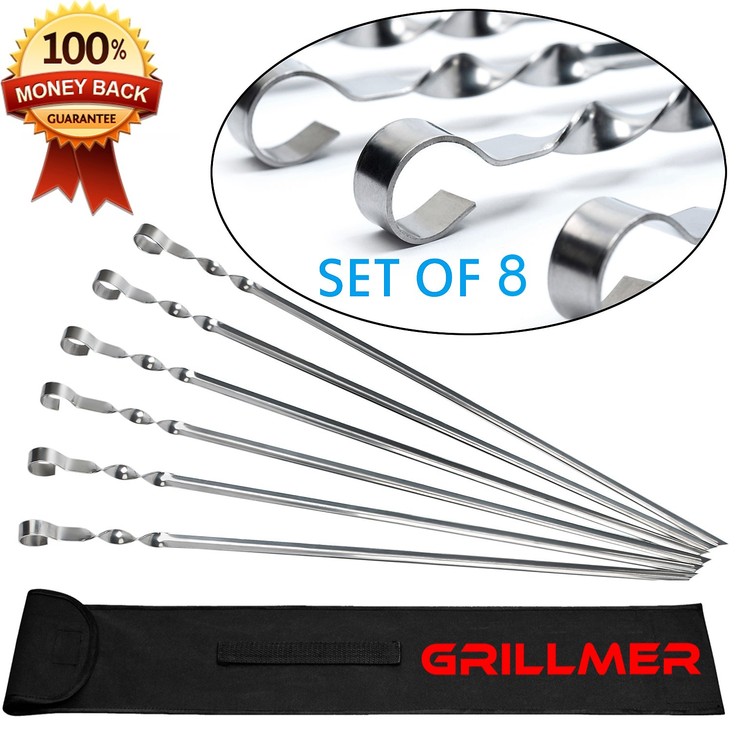 BBQ Barbecue Skewers Stainless Steel Long 23 inch Set of 8 Piece Heavy Duty Large Flat Grilling Reusable Kabob Sticks with NonSlip Ring Handle Ideal for Shish Kebab Shrimp Chicken and Vegetables by GRILLMER