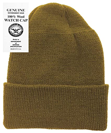 5f105e58a99 Amazon.com  Military Genuine GI Winter USN Warm Wool Hat Watch Cap (Black)   Clothing