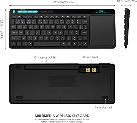 Rii K18 Wireless Keyboard with Build-in Large Size Touchpad Mouse, Rechargable Li-Ion Battery, for PC, Google Smart TV, Kodi, Raspberry Pi2/3, HTPC IPTV, Android Box, XBMC, Windows 2000 XP Vista 8 10: