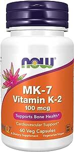 NOW Supplements, MK-7 Vitamin K-2 100 mcg, Cardiovascular Support*, Supports Bone Health*, 60 Veg Capsules