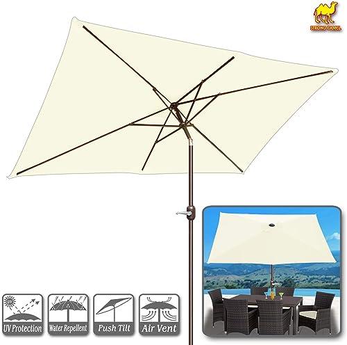Strong Camel 10 FT Outdoor Market Patio Umbrella w Crank Tilt Adjustment Ecru