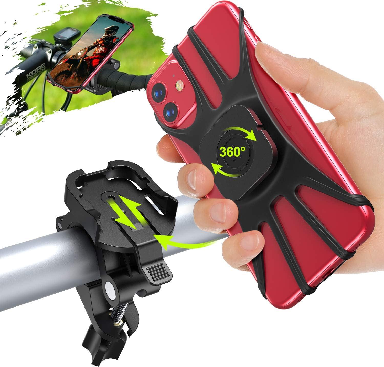 Cocoda Soporte Movil Bicicleta, Desmontable Soporte Movil Moto Bici, 360° Rotación Porta Movil Bicicleta Accesorios Moto Compatible con iPhone 12 Pro Max/12 Mini/11 Pro MAX/XS y Otro 4.7-7.5