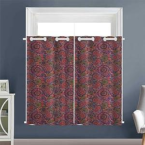 "Linhomedecor Design Darkening Curtains Leaves Eastern Grommet Home Darkening Curtains Drapes/Draperies Multicolor (1 Pair, 52"" Width x 63"" Length Each Panel)"