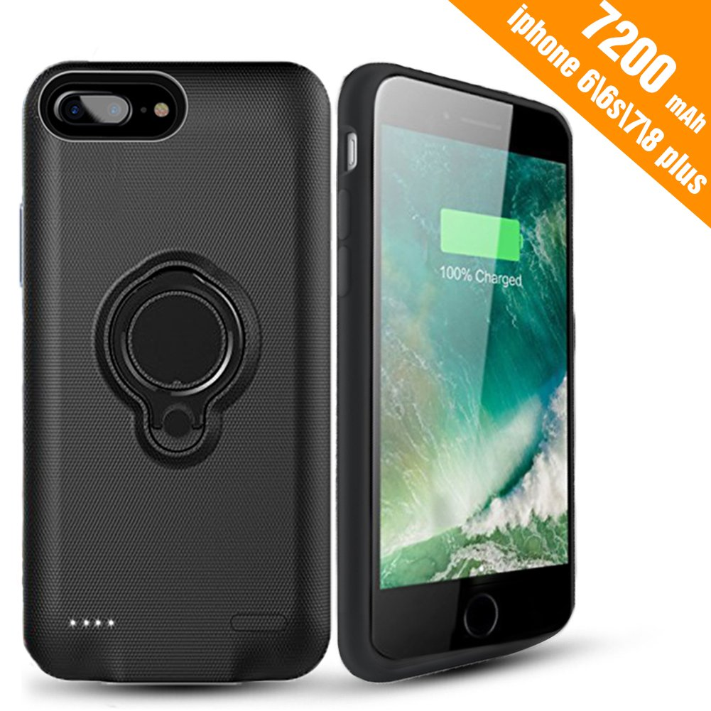 iPhone 7 Plus Battery Case - Hathcack 7200mAh Portable Battery Charging Case for iPhone 8 Plus/7 Plus/6 6s Plus Extended Battery Pack/Lightning Cable Input Mode Support Magnetic Car Holder-Black