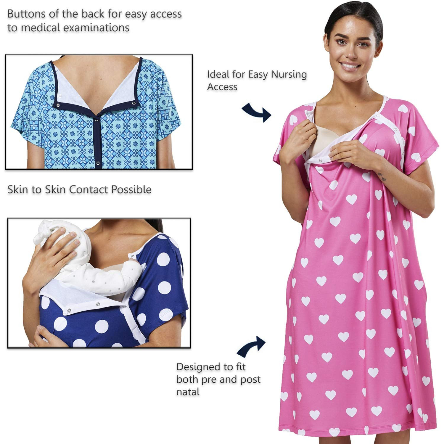 HAPPY MAMA Womens Maternity Nursing Delivery Hospital Gown Nightshirt 536p