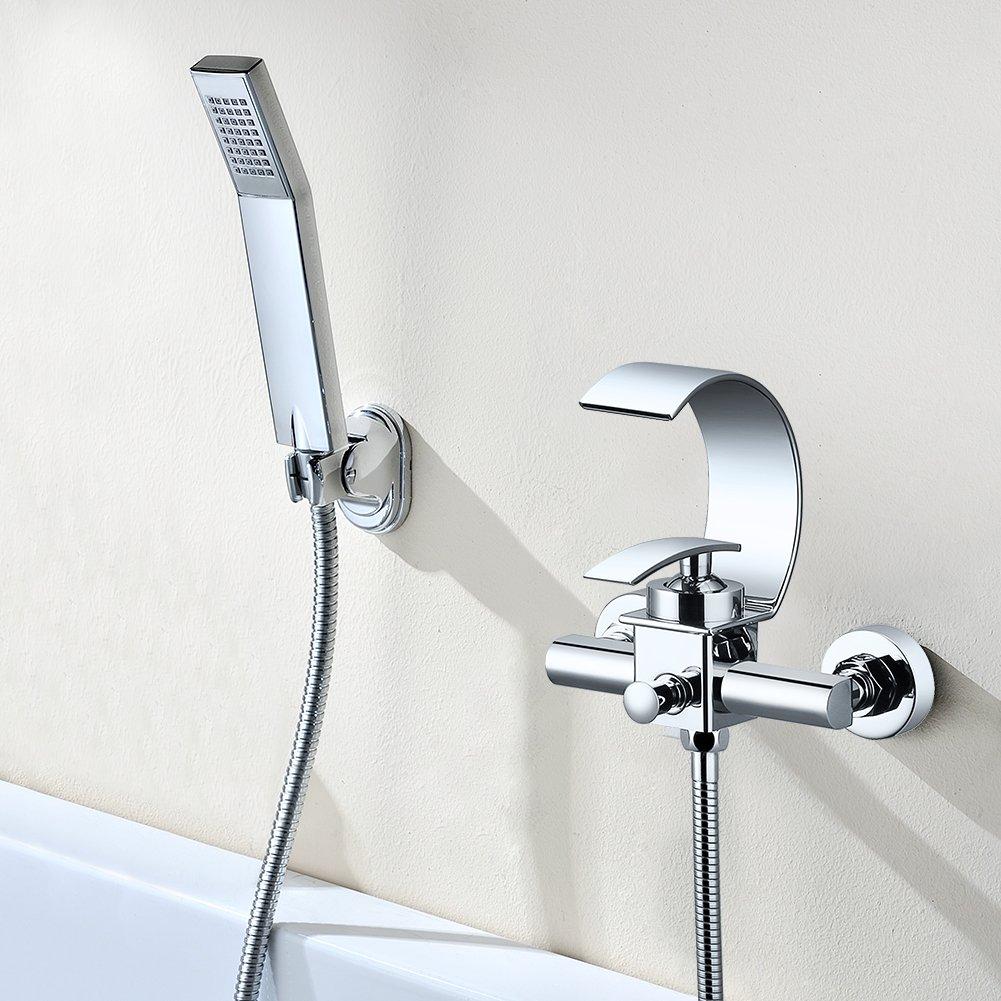 Kinse Portable Badewanne Mischbatterie Oberflä chenmontage Wasserhahn Badewannenarmatur Wasserfall Auslauf Wasserhä hne aus Messing Verchromt mit Handbrause Homezeur