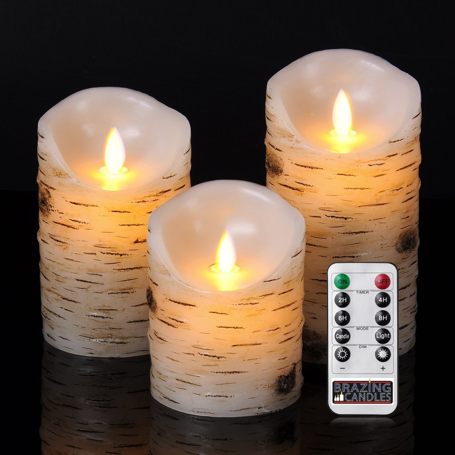 BRAZING CANDLES 3 pc LED Candle Set, Birch, 3 inch diam, remote control 3PC 3.15''x4''/5''/6High,Moving flame, Birch bark effect Birch wood,w/10 key remote control