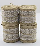 """Set of 4 Natural Jute Burlap Rolls Ribbon with Lace 2.3"""" Wide 2 Yards Long per Roll Wedding Decoration Multiple Colors : White, Blue, Green, Pink (White)"""