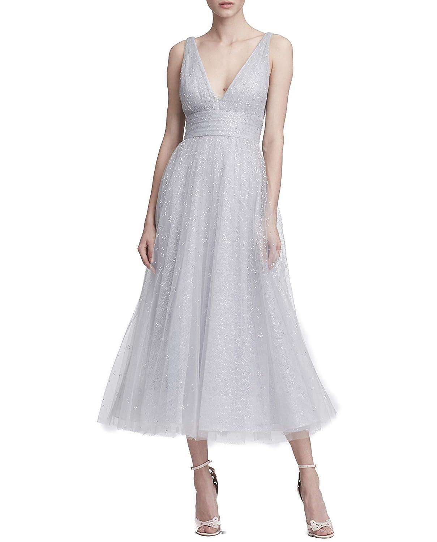 f1dd313d Marchesa Notte Women's Sleveeless V-Neck Glitter Tulle Midi_Tea Dress:  Amazon.ca: Clothing & Accessories