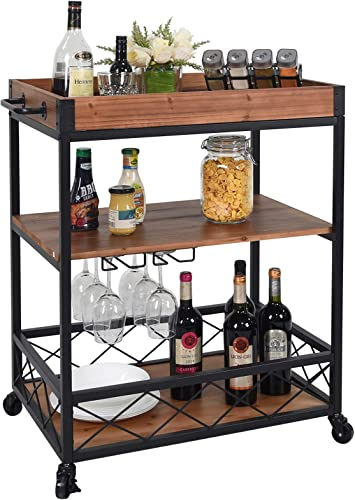 CharaVector Solid Wood Bar Serving Cart,Rolling Kitchen Storage Cart