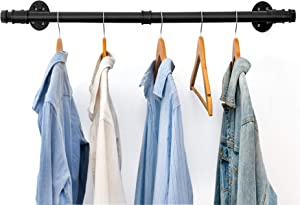 Oyydecor Industrial Pipe Clothes Rack, Heavy Duty Wall Mounted Black Iron Garment Rack Bar, Multi-Purpose Hanging Rod for Closet Storage, Laundry Room, 44'' Length (Two Base)