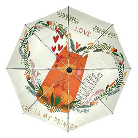 COOSUN Fox en amor Círculo automático 3 plegable del paraguas del parasol Color # 002