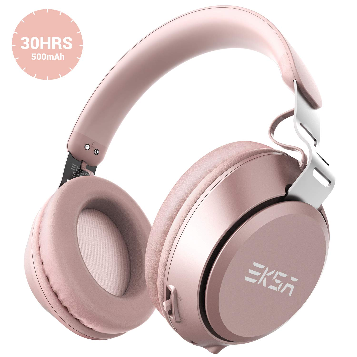 EKSA E100 Bluetooth Headphones,30 Hours Play Time Wireless Over Ear Headset with Built-in Microphone,40mm Driver,Thumping Bass, Supports Hands-Free Calling and Wired Mode for PC/Cell Phones/TV - Pink