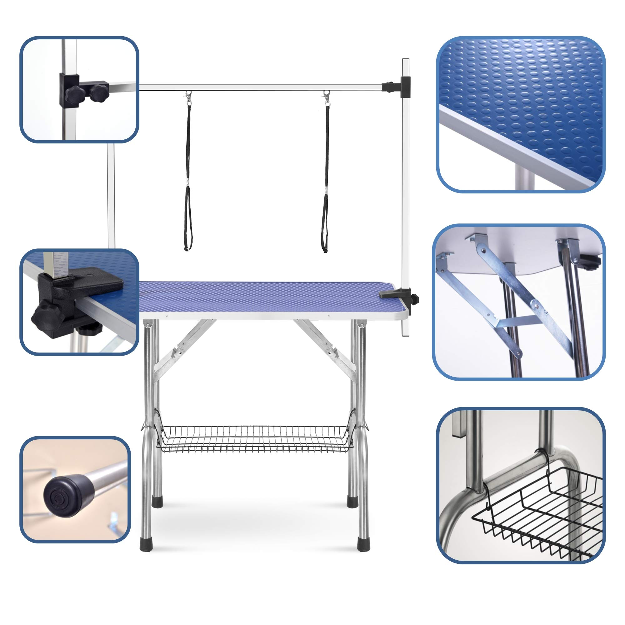 puppykitty 36'' Adjustable Folding pet Dog Grooming Table for Large Dogs Durable Stainless Steel pet Dog cat Grooming Table by puppykitty