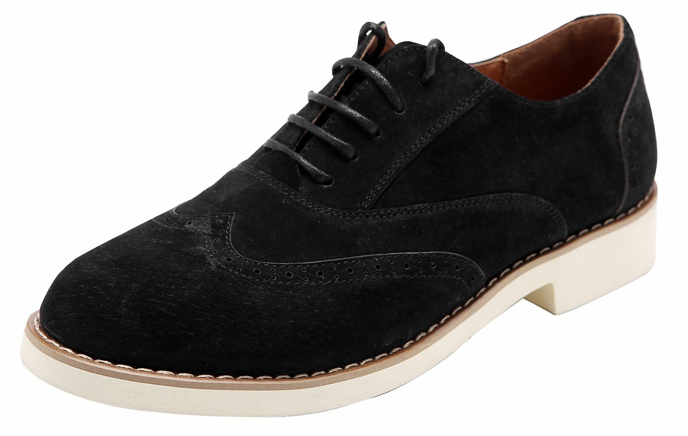 Ulite Ladys Solid Color Perforated Suede Leather Lace-up Low Heel Oxfords, Comfortable Casual Walking Oxfords blk8