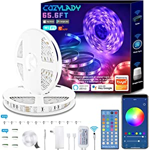 WiFi LED Strip Lights 65.6FT, Music Sync LED Light Strip Works with Alexa,Google Home Controlled by Smart APP, LED Lights 20m 600LEDs RGB Power Strip with UL Listed Adapter Remote Controller