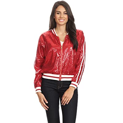 Anna-Kaci Womens Long Sleeve Front Zip Track Stripe Sequin Bomber Jacket at Women's Clothing store