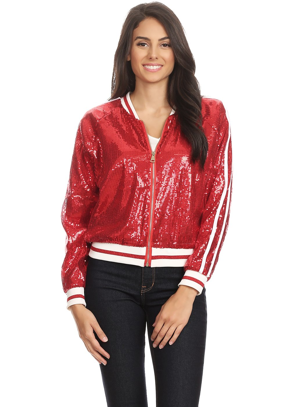 Anna-Kaci Womens Long Sleeve Front Zip Track Stripe Sequin Bomber Jacket, Red, Medium