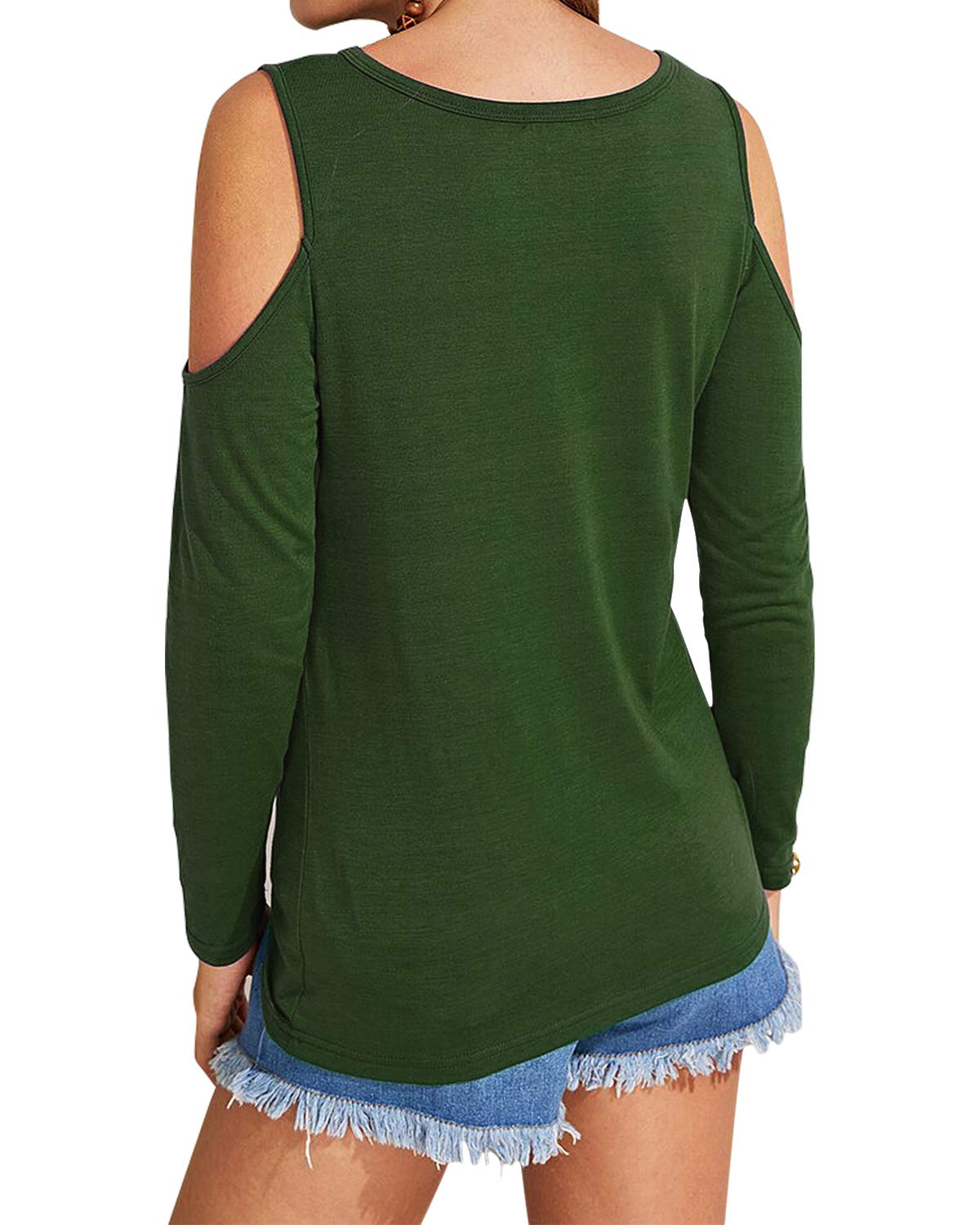 Eanklosco Women's Long Sleeve Cold Shoulder Cut Out T Shirts Casual Knot Tunic Tops (Army Green, L)