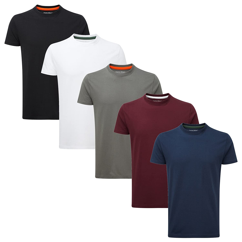Charles Wilson 5 Pack European Fit Plain Crew Neck T Shirt by Charles Wilson