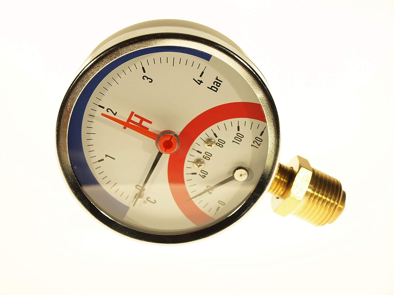 THERMIS Man/ómetro de temperatura 0-6 bar 0-120 /°C Conexi/ón inferior G1//2 Termoman/ómetro Medidor de presi/ón de temperatura 3081