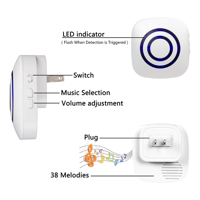 Home Security System LED Indicator Motion Sensor Alarm Wireless Driveway Alert