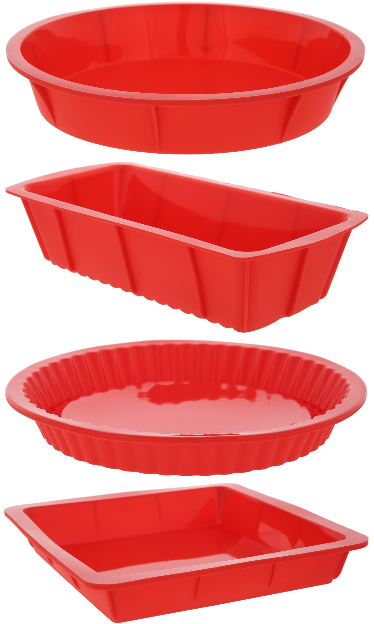 Juvale 4 Piece Bakeware Set - Baking Molds - Nonstick Silicone Bakeware Set Round, Square Rectangular Pans Pies, Cakes, Loaf More - Red, Sizes: 10.5'', 9.5'', 10''