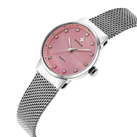 wwoor mujeres relojes vestido reloj de cuarzo de cristal de señoras vestido de las mujeres reloj