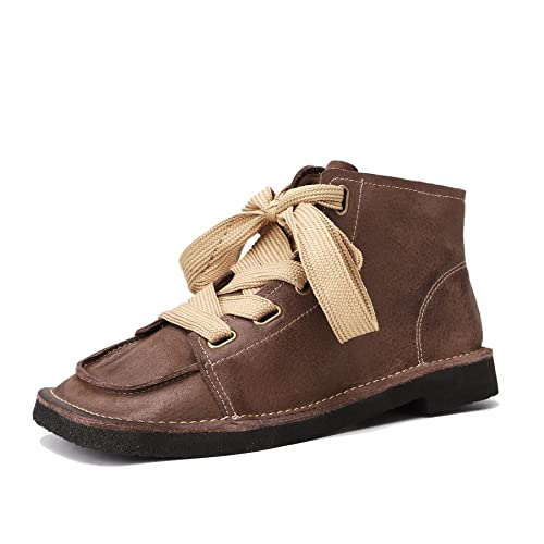 Zapatos con Cordones para Mujer con tacón Cuadrado y bajo Botines Mocasines en Cuero Genuino Vintage de Velcro Botas Planas Ocasionales: Amazon.es: Zapatos ...