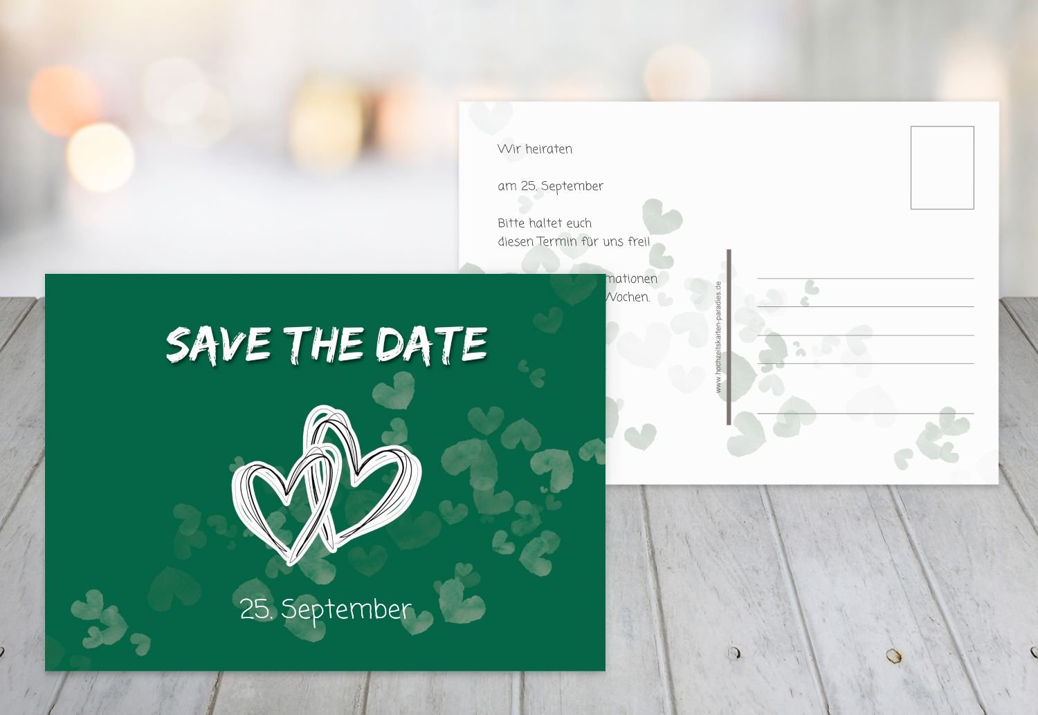 Save The Date Happy In Love Dark Green 10 Karten Amazon Co Uk