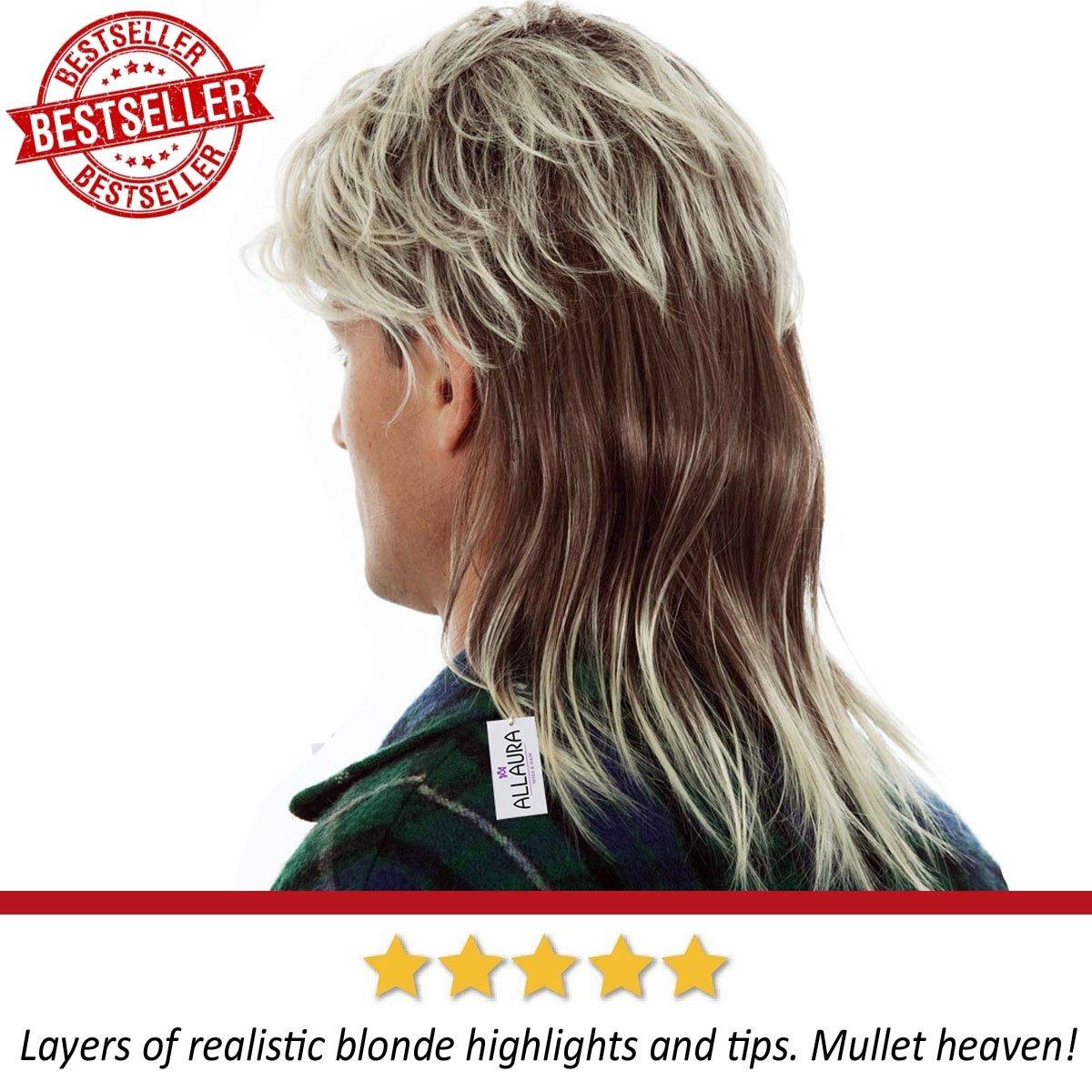 80s Blonde Mullet Wig for Men - Joe Dirt Wigs White Trash Redneck Costume by ALLAURA (Image #4)