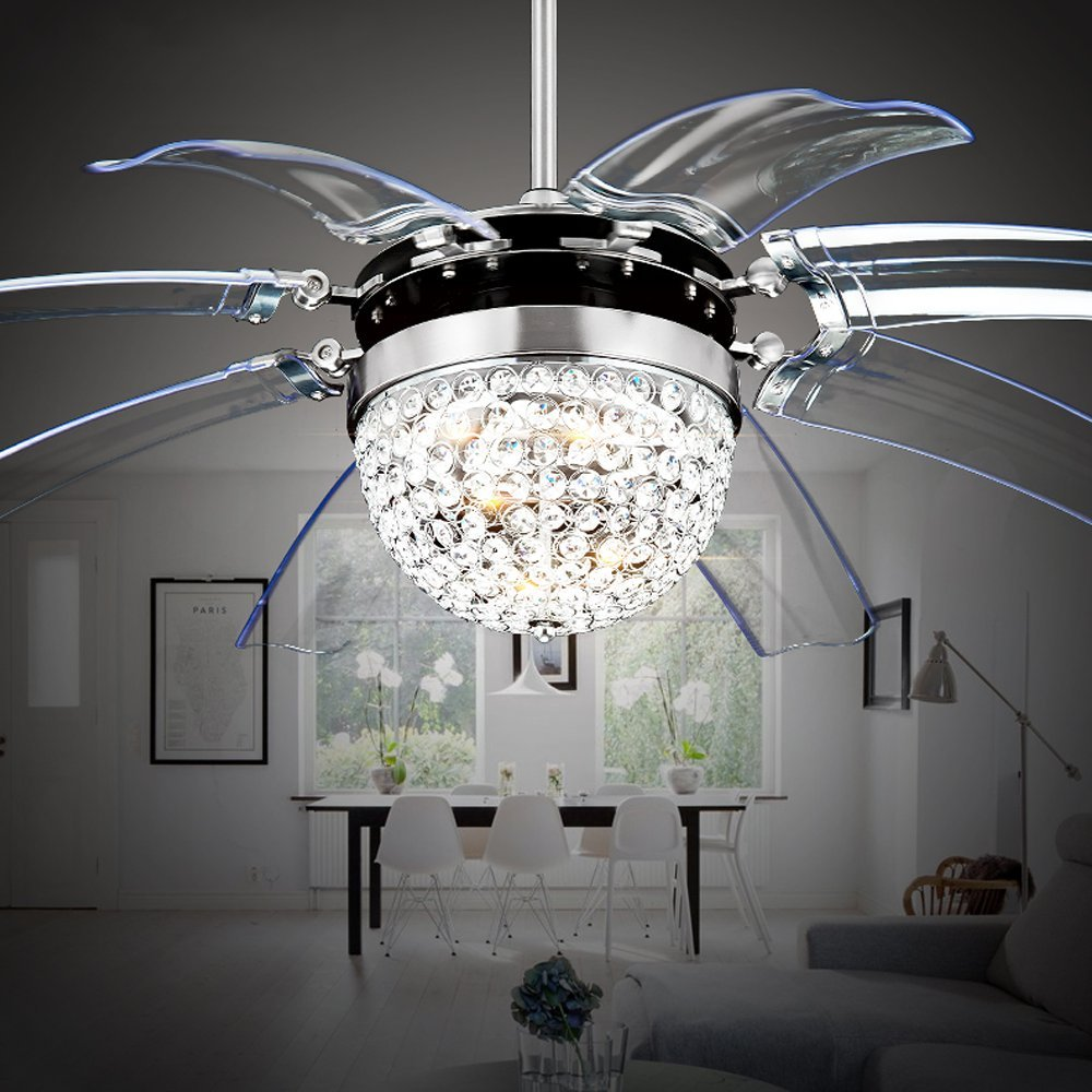Akronfire Crystal Ceiling Fan Remote Control Modern Take Off Invisible Fan Lights for Decorate Living Room Dining Room with Led Chandelier 42 Inch Silver by Akron Fire