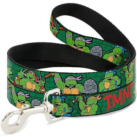 Dog Leash Ninja Turtles Group Pose2 TMNT Green Brick Wall 6 Feet Long 1.5 Inch Wide