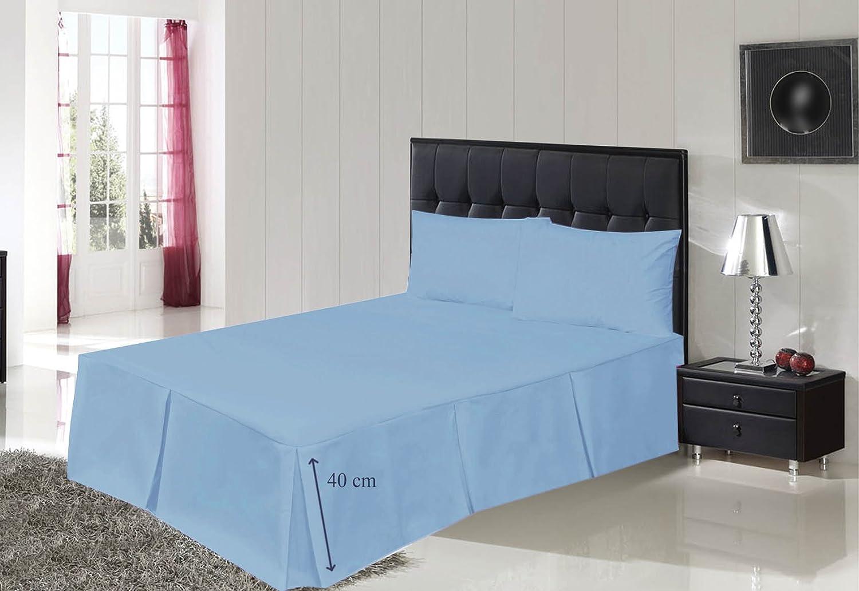 Tour de lit plissé Bemode en polycoton, facile d'entretien, bleu clair, 4Ft 122x190+40cm facile d' entretien Perfect Impex