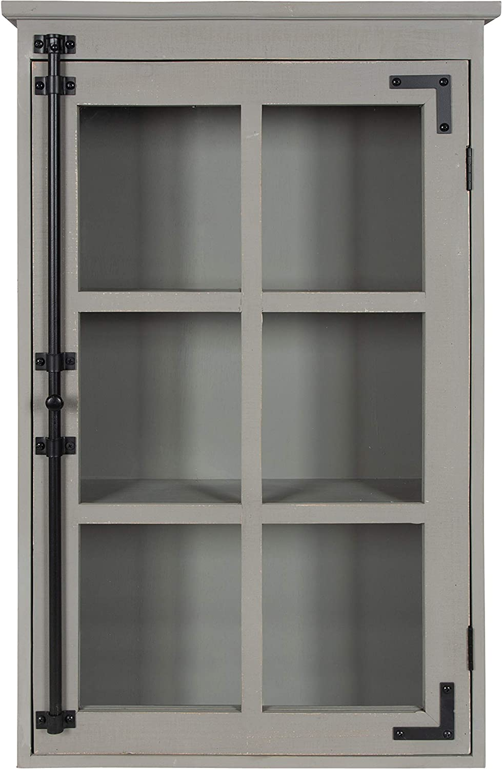 Kate and Laurel Hutchins Rustic Decorative Wood Wall Cabinet, 19.5 x 31.5, Gray, Farmhouse Cabinet with Glass Door