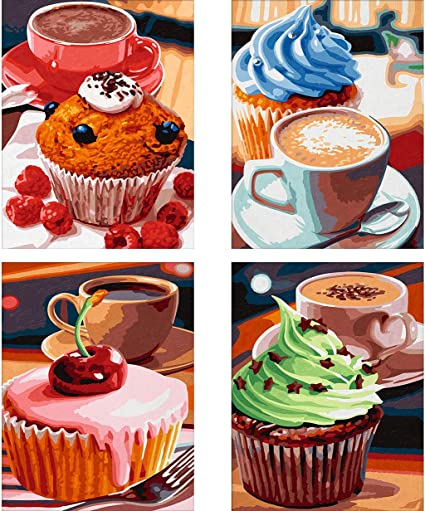 Coffee Afternoon Tea Sweets Paint with Diamonds Craft Embroidery Rhinestone Dining Decor 4 Pack 5D DIY Diamond Painting Kit Cupcake Dessert for Adults Full Drill by Number Kits 35x25 cm