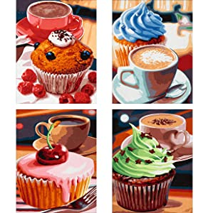 4 Pack 5D DIY Diamond Painting Kit Cupcake Dessert for Adults Full Drill by Number Kits, Coffee Afternoon Tea Sweets Paint with Diamonds Craft Embroidery Rhinestone Dining Decor (35x25 cm)