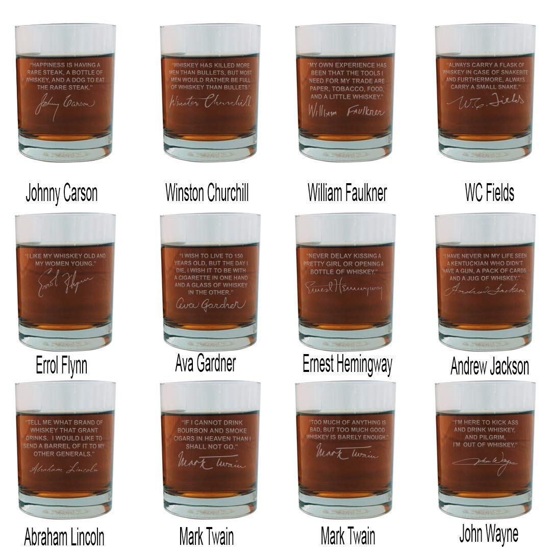 Famous Quote Engraved Whiskey Glasses Full Set of 12 with Abe Lincoln, John Wayne, WC Fields, Churchill, Twain, Carson, Hemingway & more