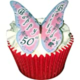Happy 50th Birthday Butterfly edible wafer cake decorations / cupcake toppers - pack of 12 by CDA Products Ltd 201-563