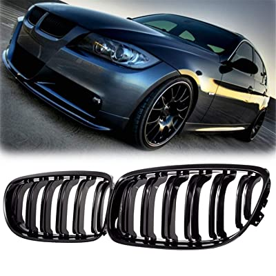 Front Center Kidney Grille Grill Replacement for BMW E90 E91 LCI 325i 328i 335i 4D 2009-2011,Gloss Black: Automotive