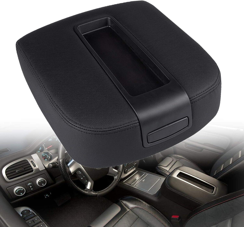 Carforu Center Console Armrest lid Kit Fit for 2007-2014 Chevy Black Tahoe Yukon Yukon XL Suburban Silverado GMC Sierra Avalanche