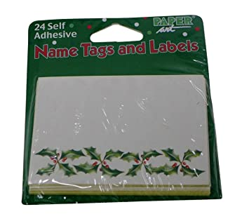 amazon com christmas holly name tags pack of 24 self adhesive