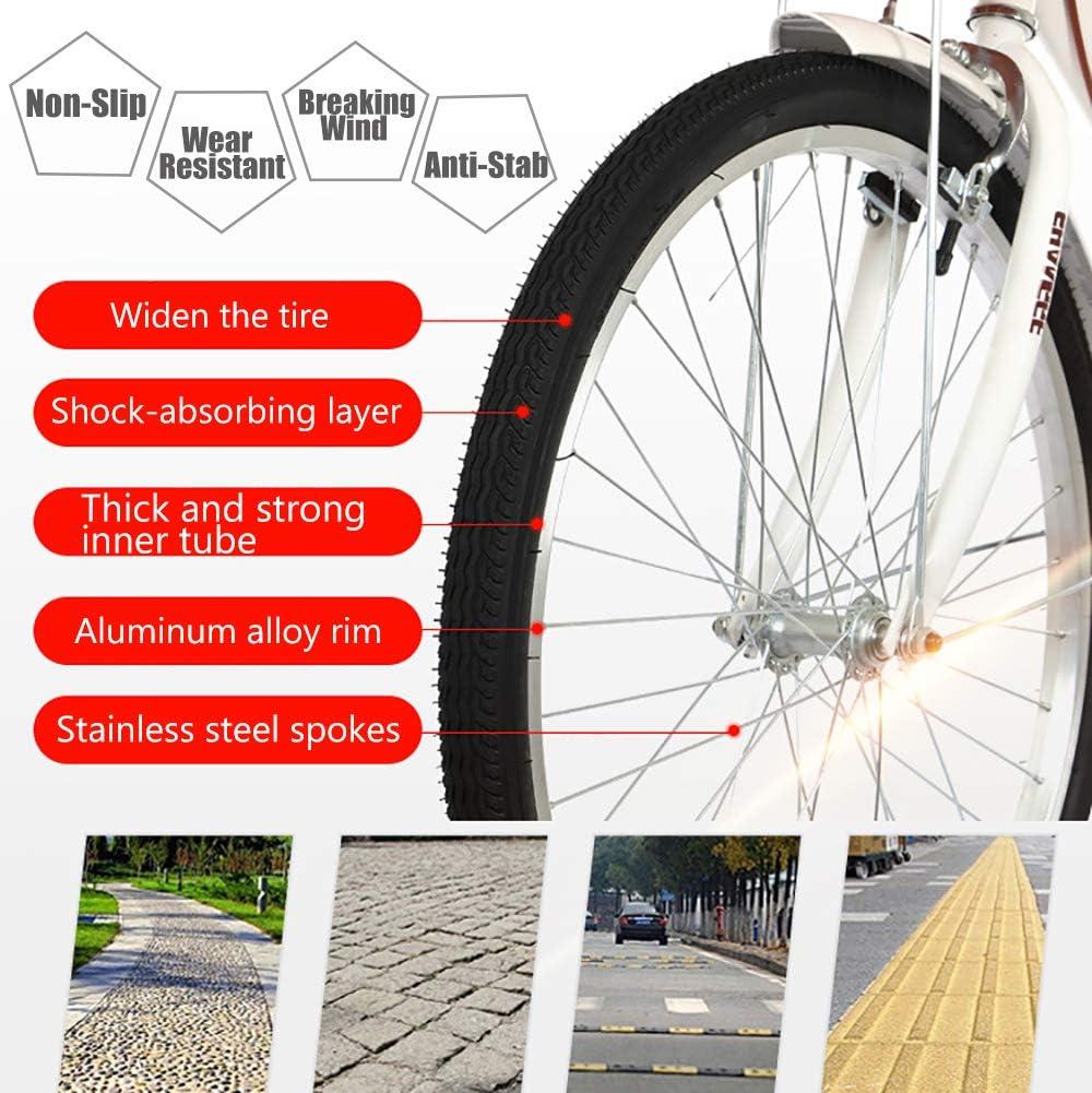 LXZH Vélo De Ville 24 Pouces pour Femmes Et Enfants, 6 Vélos De Ville À Vitesse Variable Et À Double Frein V, avec Panier Et Siège Arrière White