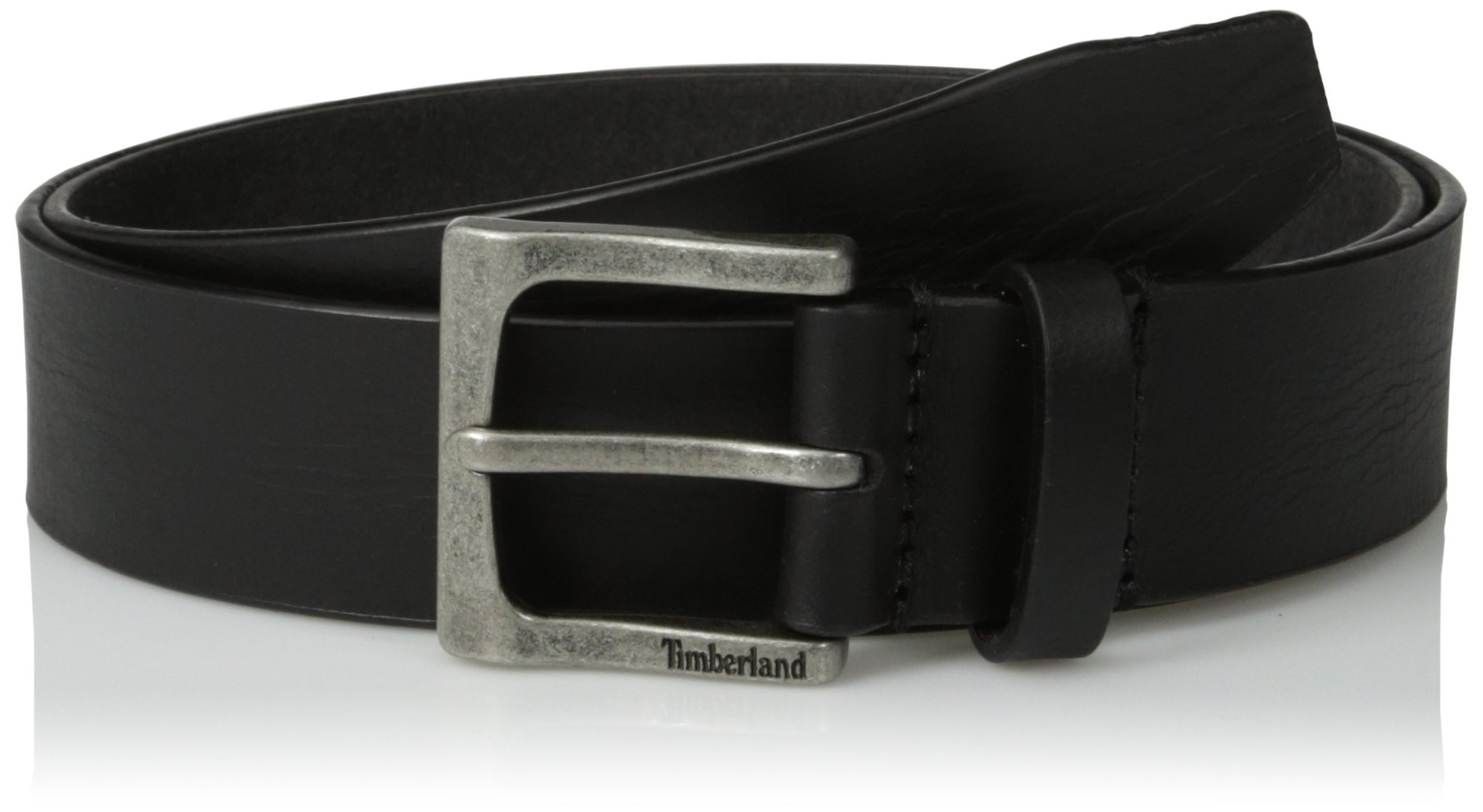 Timberland Men's Classic Leather Jean Belt 1.4 Inches Wide (Big & Tall Sizes Available), Black, 36