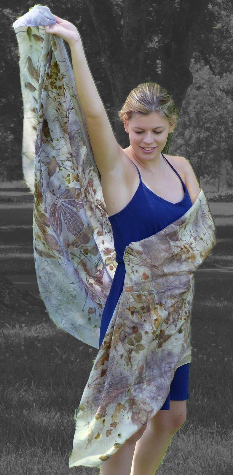 Silk shawl, wrap,veil, 36'' x 84'' organic leaf designs