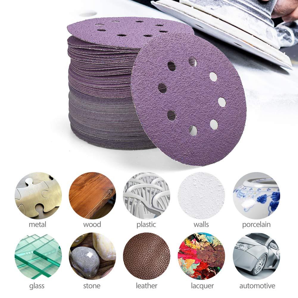 Round Sanding Sheets Disc Orbital Sander Pads with 40 60 80 120 240 Grit,100 pcs